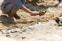 Children learning about, Excavating dinosaur fossils simulation stock image
