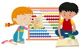 Children Learning Math with Abacus. Illustration Royalty Free Stock Photos