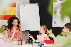 Children learning Spanish language. In international school Royalty Free Stock Photos