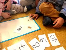 Children learning to count and numbers with seeds at school- learning by doing, education, kindergarten royalty free stock photos