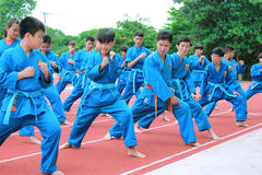 Children are learning traditional martial art in a sport club in Vietnam Royalty Free Stock Photography