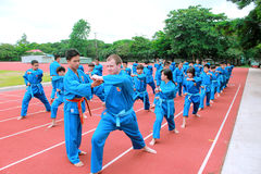 Children are learning traditional martial art in a sport club in Vietnam Stock Photo