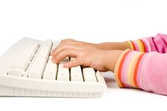 Children learning typing Royalty Free Stock Photos