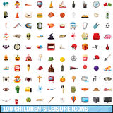 100 children leisure icons set, cartoon style. 100 children leisure icons set in cartoon style for any design vector illustration Stock Image