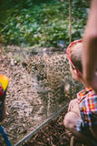 Children and leopard cub Royalty Free Stock Image