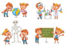 Children in the lesson of geography, chemistry, mathematics and biology. Funny cartoon character. Vector illustration.  on white background Stock Photo