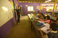 Children in lesson at school by project Cambodian Kids Care to help deprived children in deprived areas with education. KOH CHANG, THAILAND - FEB 8, 2016 Stock Photo