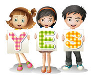 Children with letters. Illustration of the children with letters on a white background Stock Images