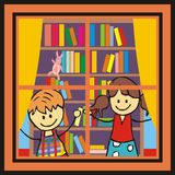 Children in the library. Royalty Free Stock Photography