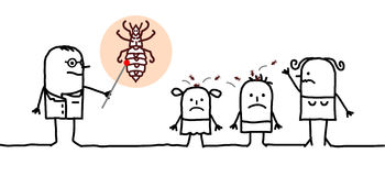 Children & lice. Vector hand-drawn characters line Stock Photo