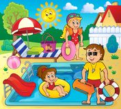 Children and life guard by pool Stock Image