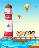 Children and lighthouse Royalty Free Stock Photography