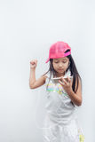 Children listen to music through mobile. Royalty Free Stock Photography