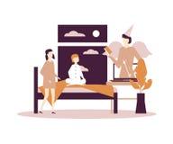 Children listening to audiobooks - flat design style illustration stock illustration
