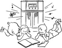 Children Listening To Radio Royalty Free Stock Photo