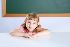 Children little blond girl student on classroom Royalty Free Stock Photos