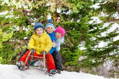 Free Children Little Boys And Girl Slide On Sledge Royalty Free Stock Photos - 68934928