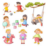Children little boys girls playing outdoor games vector flat icons set. Children playing outdoor games. Young girl child with ball, on pony toy or ABC blocks royalty free illustration