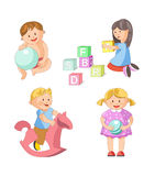 Children little boys girls playing toy games vector flat icons set. Children playing toys and games. Young boy or toddller play balloon or swinging on horse royalty free illustration