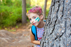 Children little girl happy playing in forest tree Stock Image