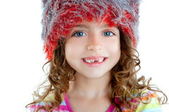 Children little girl with winter fur cap royalty free stock images