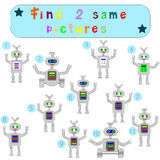 Children Logic develops an educational game. `Find 2 identical pictures`, funny robots Stock Image