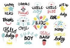 14 children logo with handwriting. Little boy, girl, BYE, Princess, Hello baby, Super hero, Party, Number one, Thanks. Kids background Poster Emblem Card Royalty Free Stock Photo
