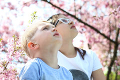 Children look to the sky Royalty Free Stock Photography