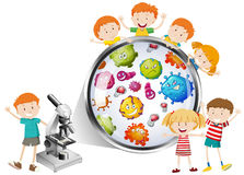 Children looking at bacteria from microscope Royalty Free Stock Images