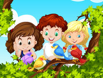 Children looking at birds on branch. Illustration royalty free illustration