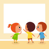 Children looking at board. Illustration image of children looking at blank board with copy space Stock Photo