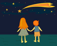 Children looking at the falling star. Royalty Free Stock Photos