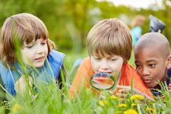 Children are looking at nature with the magnifying glass. Children lying in the grass and looking at nature as a researcher together with the magnifying glass stock photography