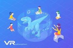 Free Children Looking On Dinosaur In Virtual Glasses. Virtual Reality VR Education Online Isometric Flat Vector Illustration Stock Photography - 161702392