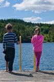 Children looking to the water. The vertical photo of the kids on pier looking to the water royalty free stock photo