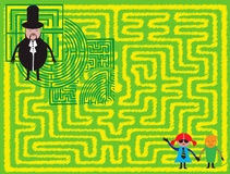 Children lost in the labyrinth. Abstract colored background with magician wearing a black costume and children lost in a labyrinth Stock Images