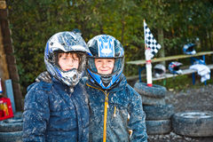 Children loves to race with a quad bike Royalty Free Stock Photography