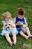 children loving thier pets Stock Photography