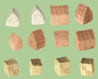 Children Made Houses. Children made tiny clay houses Stock Photography