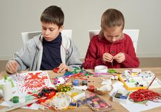 Free Children Make Crafts And Toys, Handmade Concept. Artwork Workplace With Creative Accessories. Stock Images - 109344924