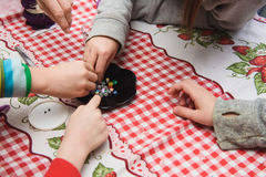 Children make crafts Stock Photos