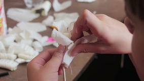 Children Make Crafts Out of Paper at the Table, HandMade stock video footage
