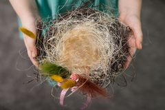Children make a nest for birds, nest for birds. Children make a nest for birds, bird eggs royalty free stock photography