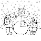 Children make snowman, coloring, cartoon linear outline drawing, vector black and white illustration, holiday background. Painted royalty free illustration