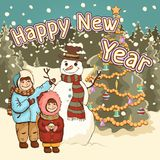 Children make snowman, happy New Year card, poster, cartoon colorful drawing, vector illustration. Cute boy and girl, funny snowma stock illustration