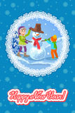 Children make a snowman. Illustration greeting card with lettering. Royalty Free Stock Photo