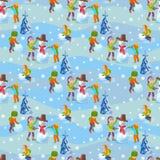 Children make a snowman. Illustration winter seamless background. Stock Photography