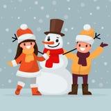 Children make a snowman. Vector illustration Stock Photos