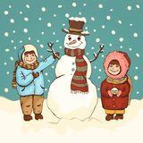 Children make snowman, winter fun, cartoon colorful drawing, vector illustration, card, poster, banner, holiday background. royalty free illustration