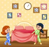 Children Making Bed in the Morning Stock Images